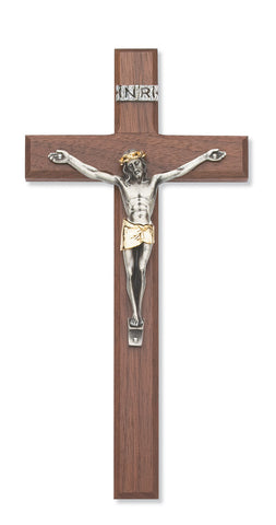 10 inch walnut crucifix with two tone corpus