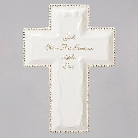 White, God Bless Wall Cross, 6""