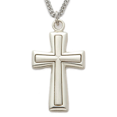 "Sterling Silver Cross Necklace with Satin Inner Cross and Polished Edge Finish on 24"" Chain"