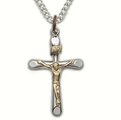 "Sterling Silver Crucifix Necklace, 2-Tone Tube, 18"" Chain"