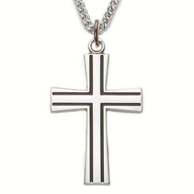 "Sterling Silver Cross Necklace, Antiqued Flared, 24"" Chain"
