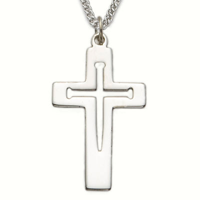 "Sterling Silver Cross Necklace, Pierced Nail Design, Inner Cross, 24"" Chain"