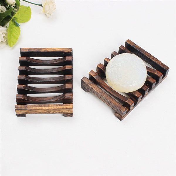 2 Natural Wood Dish Soap Holder/Rack w/ Water Draining Design