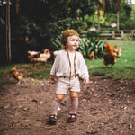 Boys Suspender Shorts in Irish Linen