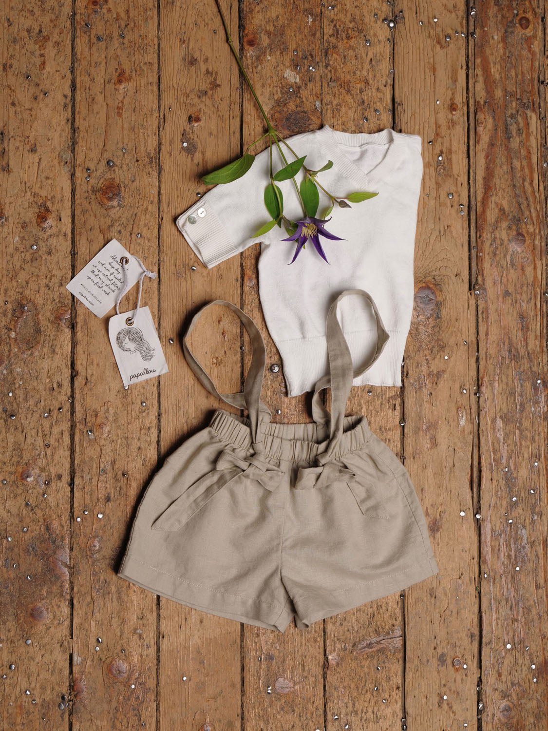 Linen Suspender Shorts