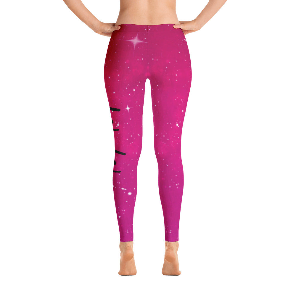 Woo Woo AF Galaxy Leggings - Pink/Red