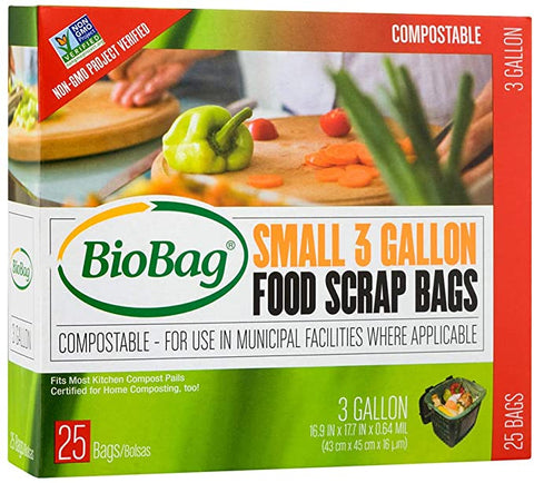 The exterior packaging of a box of Bio Bags, compostable trash bags (countertop size here)