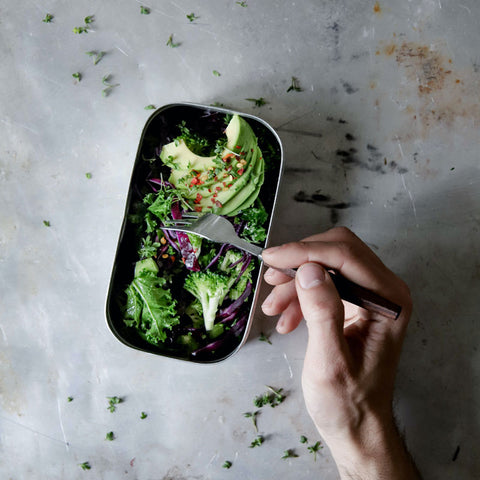 A hand holding a fork hovers over a lunch tin with lots of green veggies and avocado.