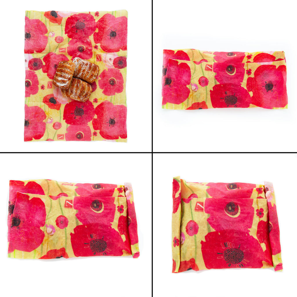 "a 2x2 grid of 4 images illustrating how to create a Z Wrap package or ""sandwich style"" wrap around three pastries"