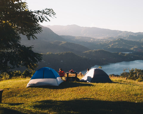 two tents camping overlooking a gorgeous vista