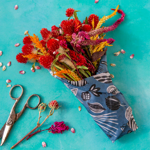 a bouquet of red and yellow flowers is wrapped in a Z Wraps beeswax wrap on a teal background next to some old scissors and a couple stems