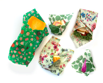 Butternut squash, apple, cheese, red onion, and sandwich, each wrapped in reusable beeswax wraps