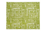 Beeswax food wrap with green with pastry names like 'baguette' and 'brioche' printed in white