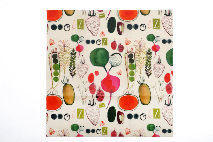 white reusable food wrap with vegetables and fruits design