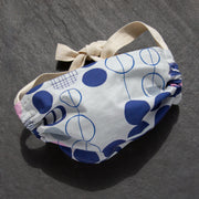 Cloth face mask with blue and white pattern