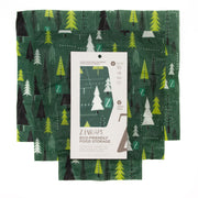 Dark green beeswax food wraps with trees pattern