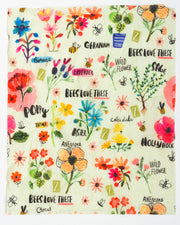beeswax reusable food wrap in colorful bees and flowers design