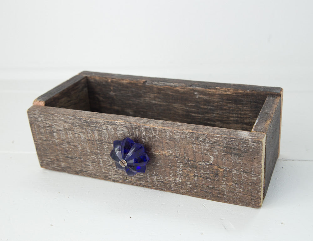 Barn Wood Box with Blue Knob