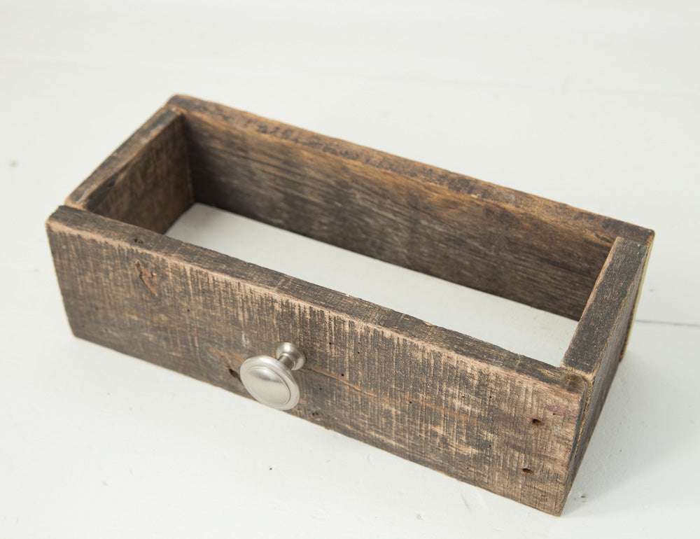 Barn Wood Box with Silver Knob