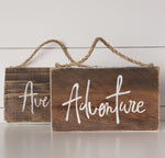 """Adventure/Aventure"" on Barn Wood"