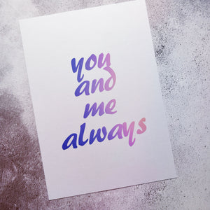 You and me always - A4 pearlescent Print - fay-dixon-design