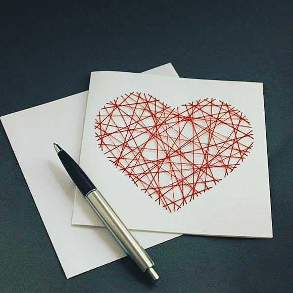 Handmade Red Threaded Heart Greeting Card