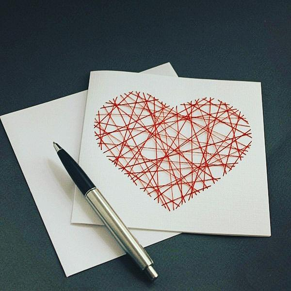 Handmade Red Threaded Heart Greeting Card - fay-dixon-design