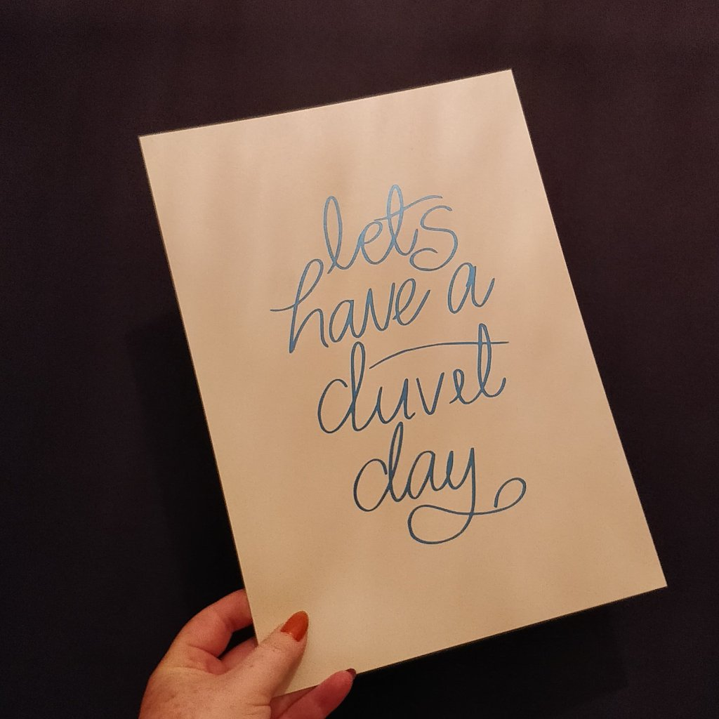Let's Have a Duvet Day - A4 Pearlescent Cream an Metallic Blue Print - fay-dixon-design