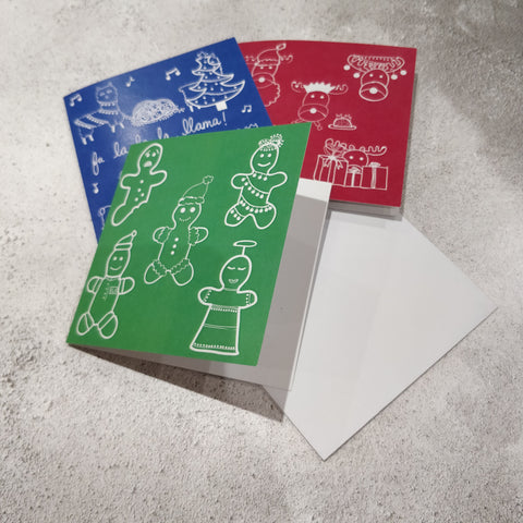 Three Illustrated Christmas Square Greeting Cards