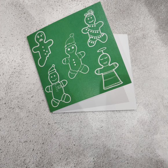 Green Christmas Gingerbread Square Greeting Card