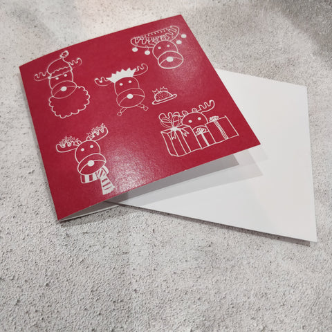 Red Christmas Reindeer Square Greeting Card