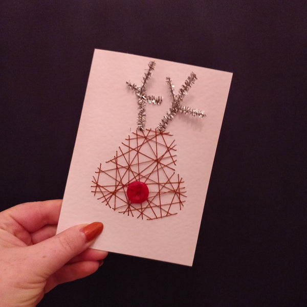 Rudolph Handmade Threaded Greeting Card - fay-dixon-design