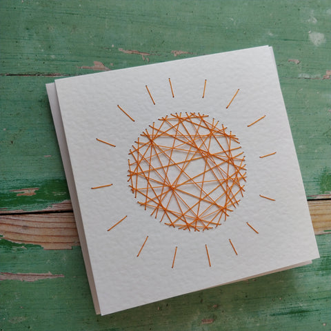 Handmade Yellow Threaded Sun Greeting Card