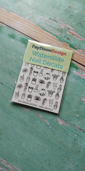 Cacti and Succulents Waterslide Nail Decals - fay-dixon-design