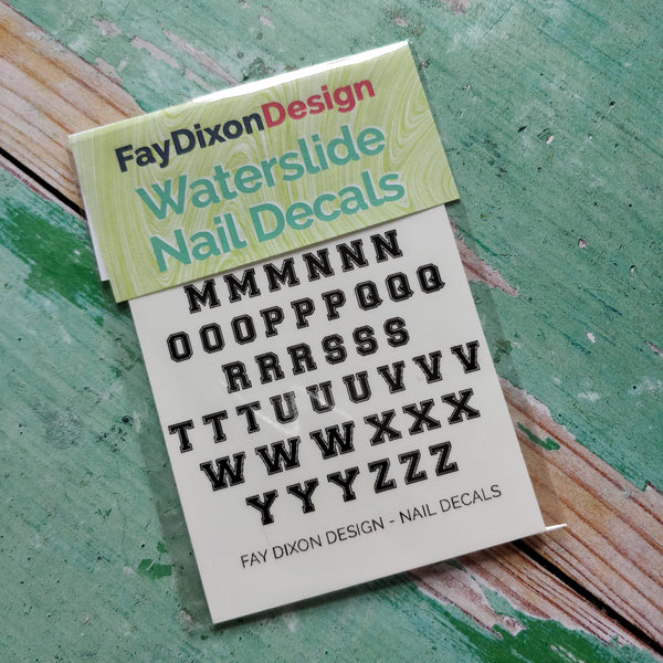 Varsity Style Font Waterslide Nail Decals - fay-dixon-design