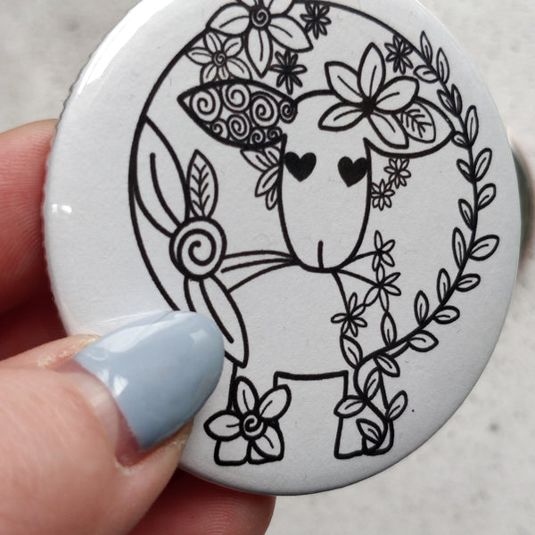 Sheep Floral line Drawing Badge/Mirror - fay-dixon-design