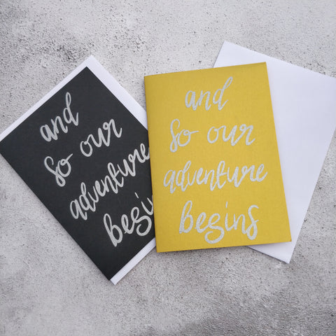 And so our adventure begins Glitter Greeting Card
