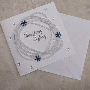 Handmade Christmas Wreath Greeting Card - fay-dixon-design