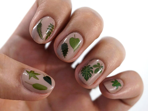Leaves and Greenery Waterslide Nail Decals