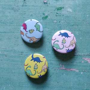Illustrated Colourful Dinosaurs Badge/Mirror