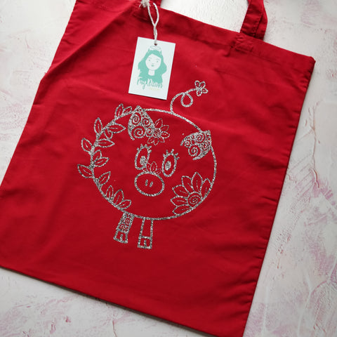 Floral Pig Line Drawing Tote Bag