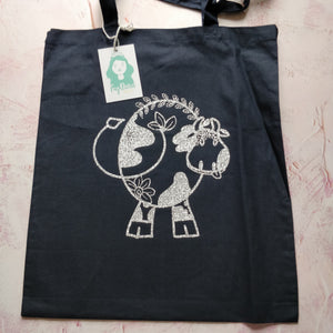 Floral Cow Line Drawing Tote Bag