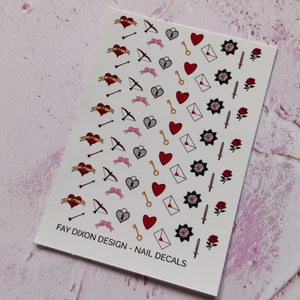Love and Weapons Waterslide Nail Decals