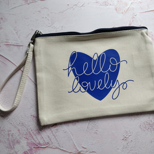 Hello Lovely Cotton Pouch with Wrist Strap