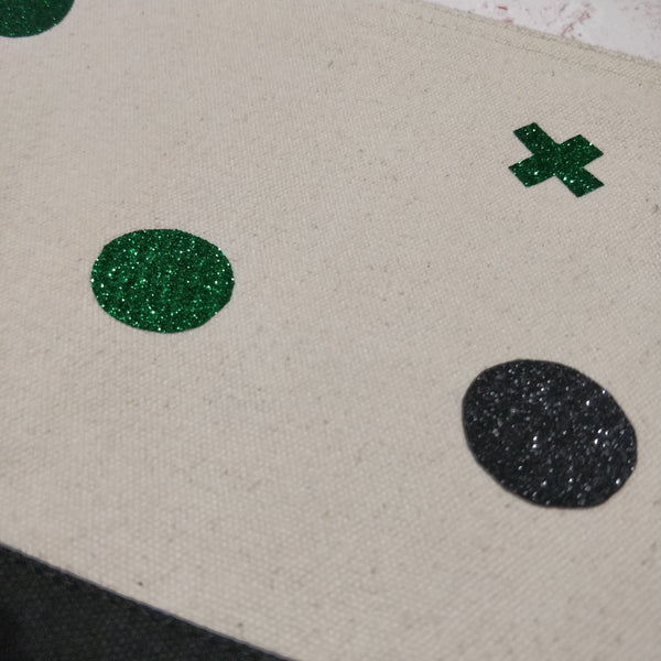 Green and Black Glitter Cotton Pouch