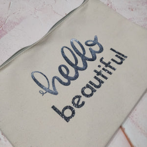 Hello Beautiful Cotton Pouch with Wrist Strap