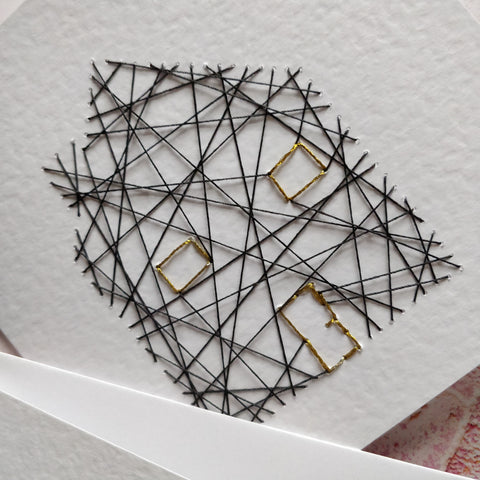 Handmade Gold and Grey Threaded House Greeting Card