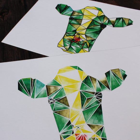 Geometric Watercolour Cow Digital Print