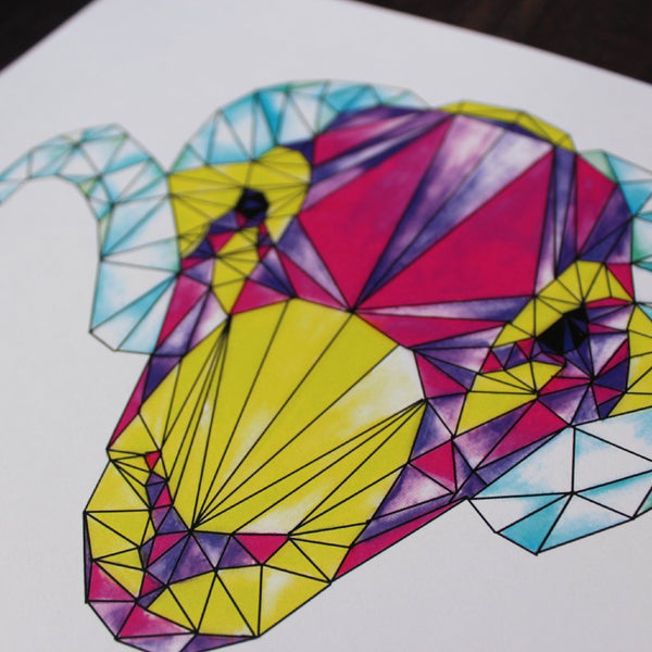 Geometric Watercolour Swaledale Sheep Tup Digital Print - fay-dixon-design
