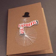Handmade Threaded Snowman Card